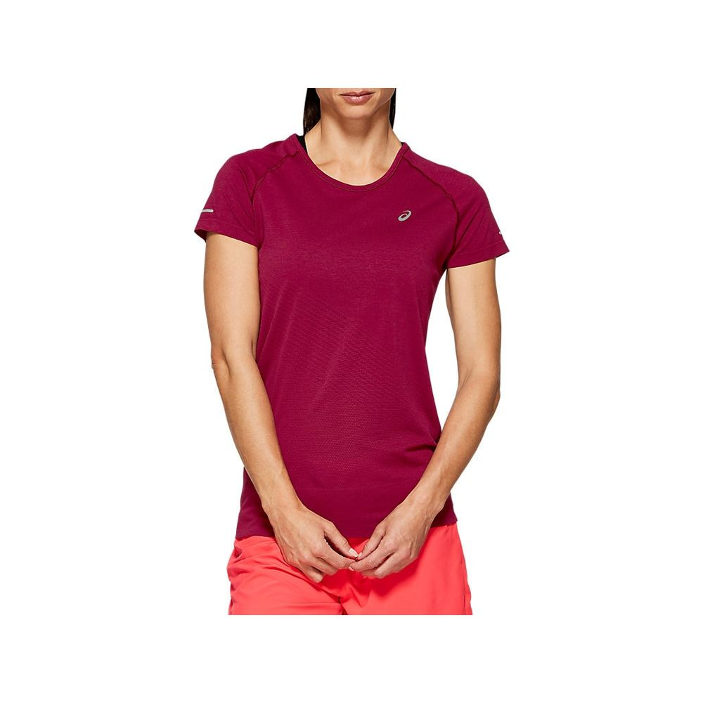 Camiseta-Asics-Seamless-SS-Texture---Feminino---Vermelho