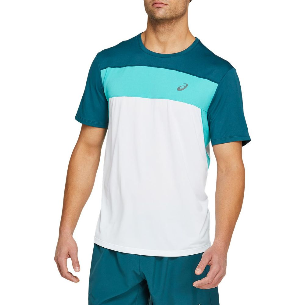 Camiseta-Asics-Race-SS-Top---Masculino---Branco-e-Azul