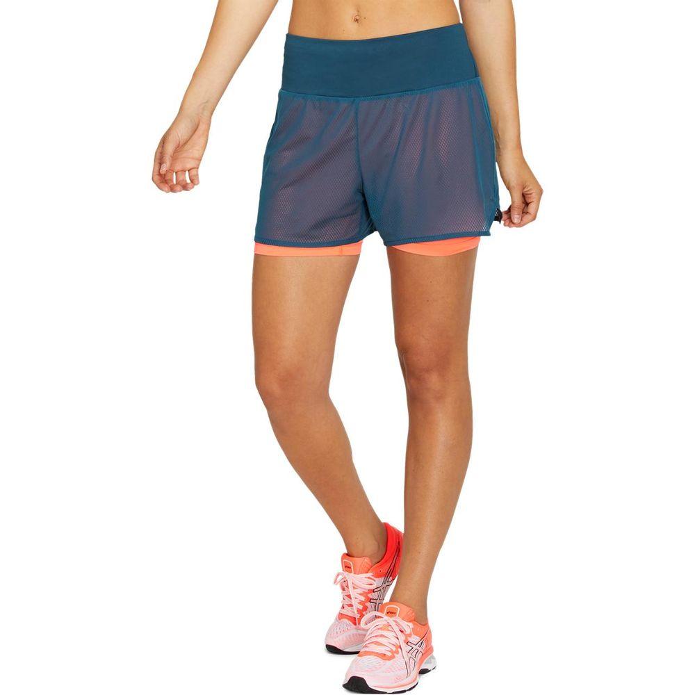 Short-Asics-Ventilate-2-N-1-3.5In---Feminino---Azul-e-Laranja
